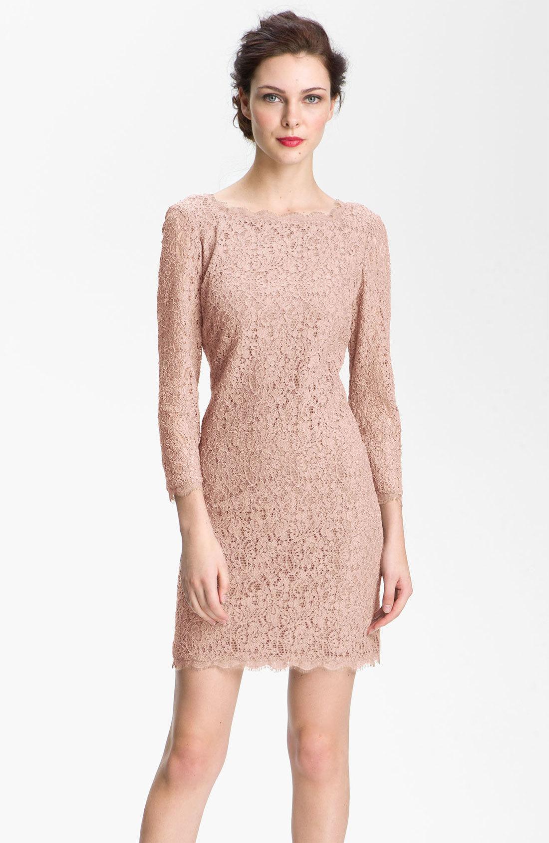 Adrianna Papell Blush Lace Dress