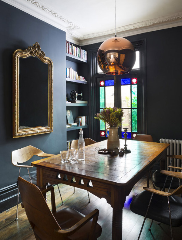 A   copper   pendant light stands alone and pairs beautifully with the eclectic style in this dining room - I mage via Desire To Inspire