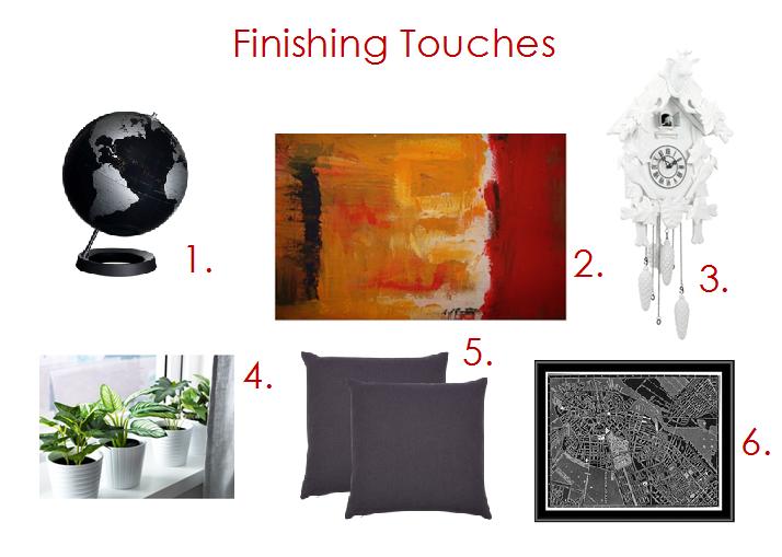 1. Table Globe  //  2. Minimalist Abstract Art  //  3. Cuckoo Clock //  4. Greenery Accents  //  5. Accent Cushions  //  6. Map Art