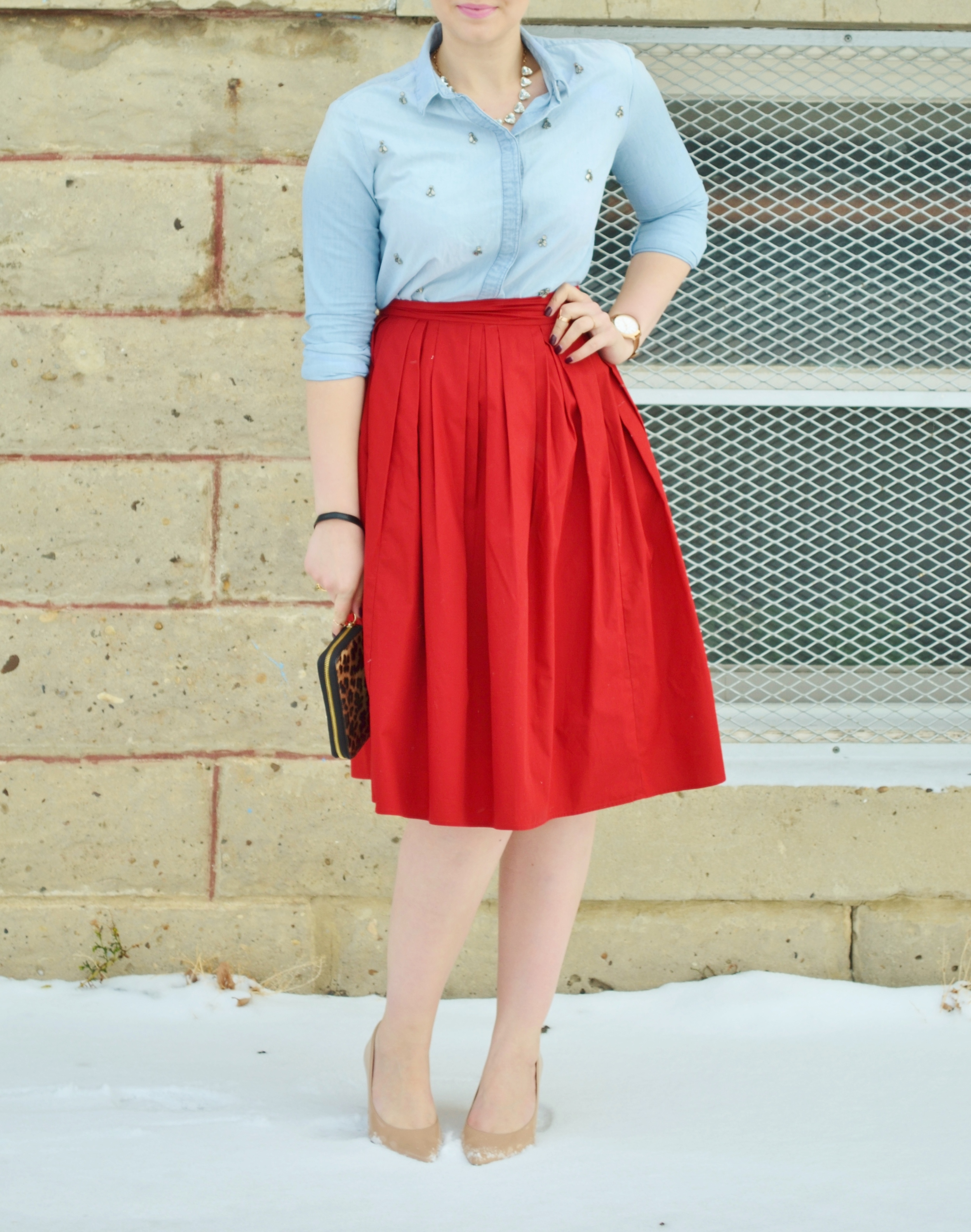 red skirt and chambray.JPG