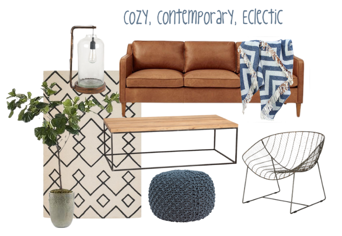 Image Sources:  Area Rug  //  Sofa  //  Coffee Table  //  Chair  //  Pouf  //  Lamp  //  Tree