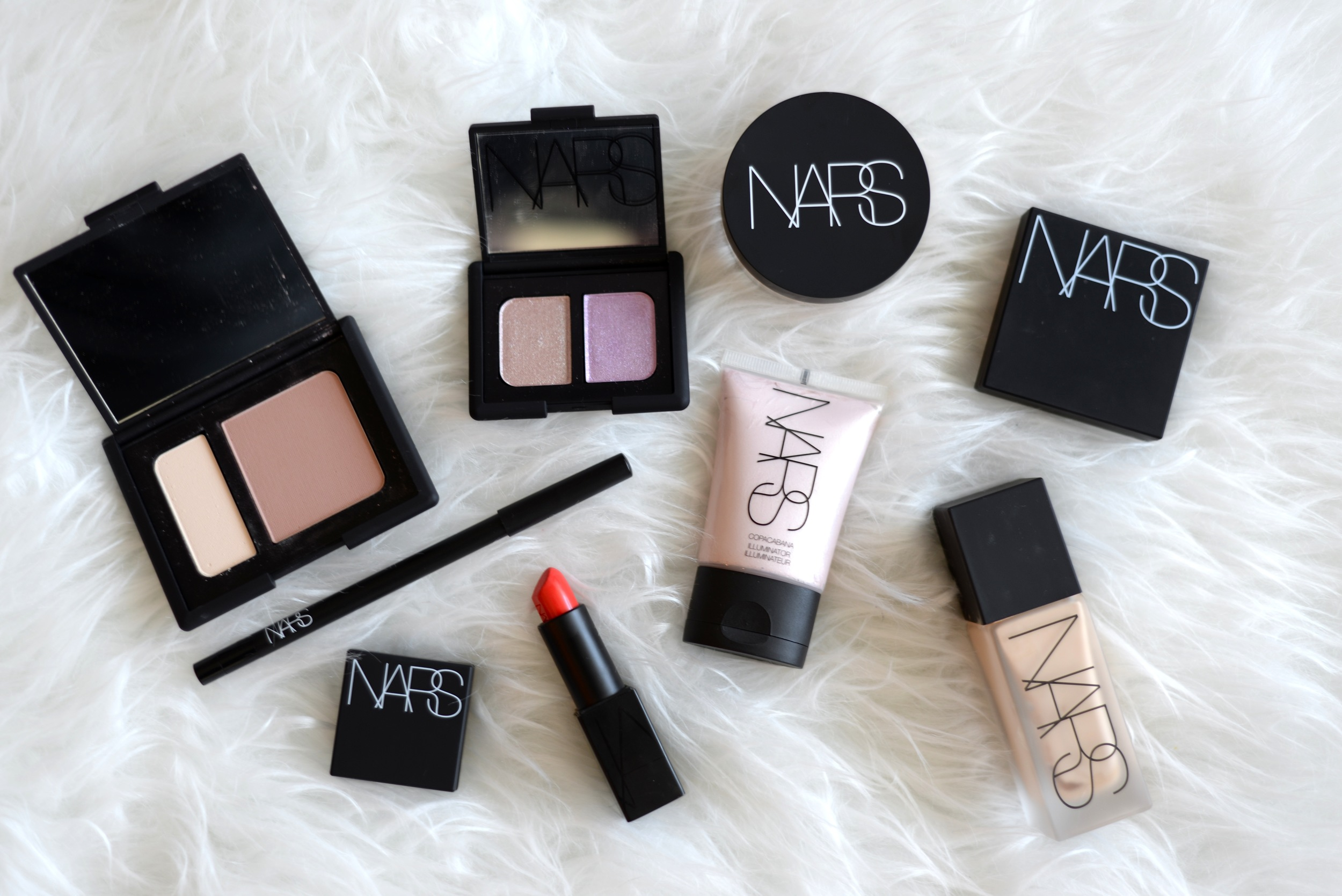 nars makeup, nars olympia blush and contour duo, nars illuminator copacabana, nars weightless foundation, nars x christopher kane eyeshadow, nars audacious lipstick