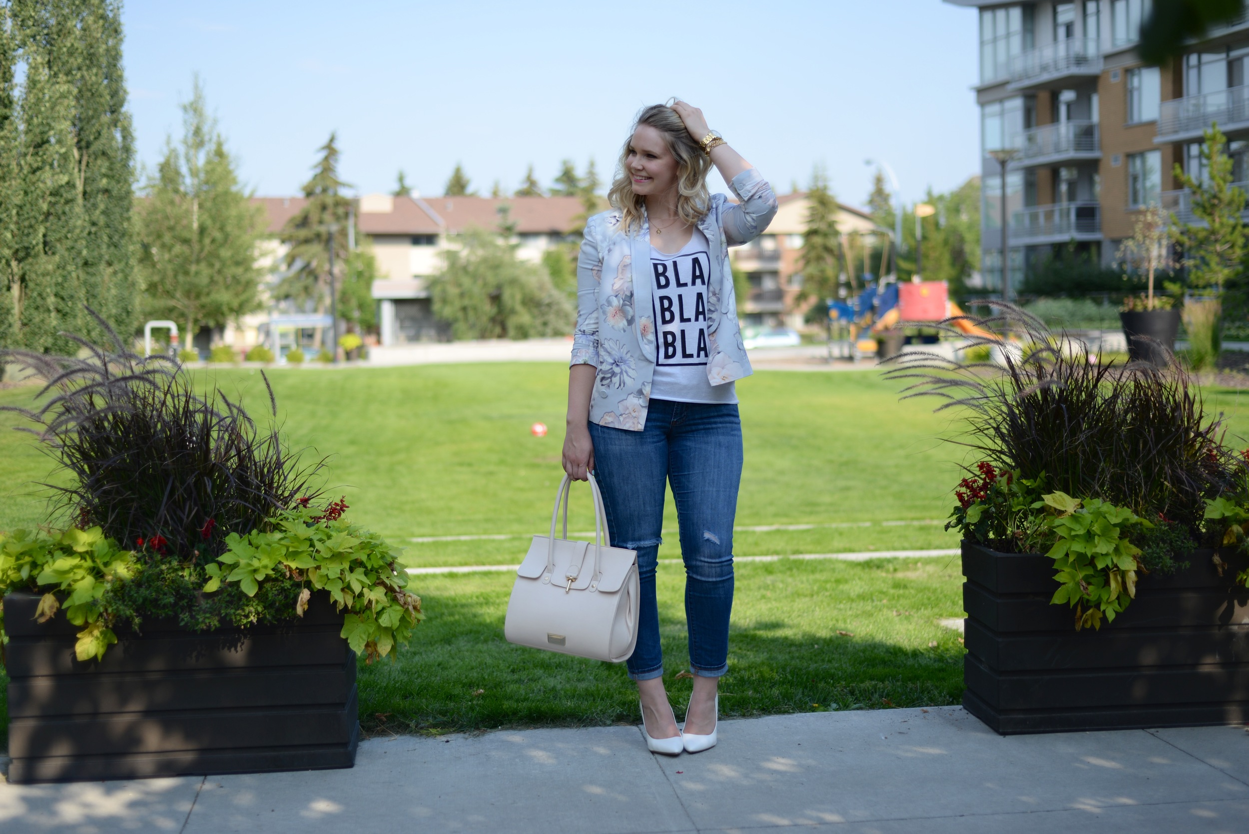edmonton fashion blog, graphic tee, floral blazer