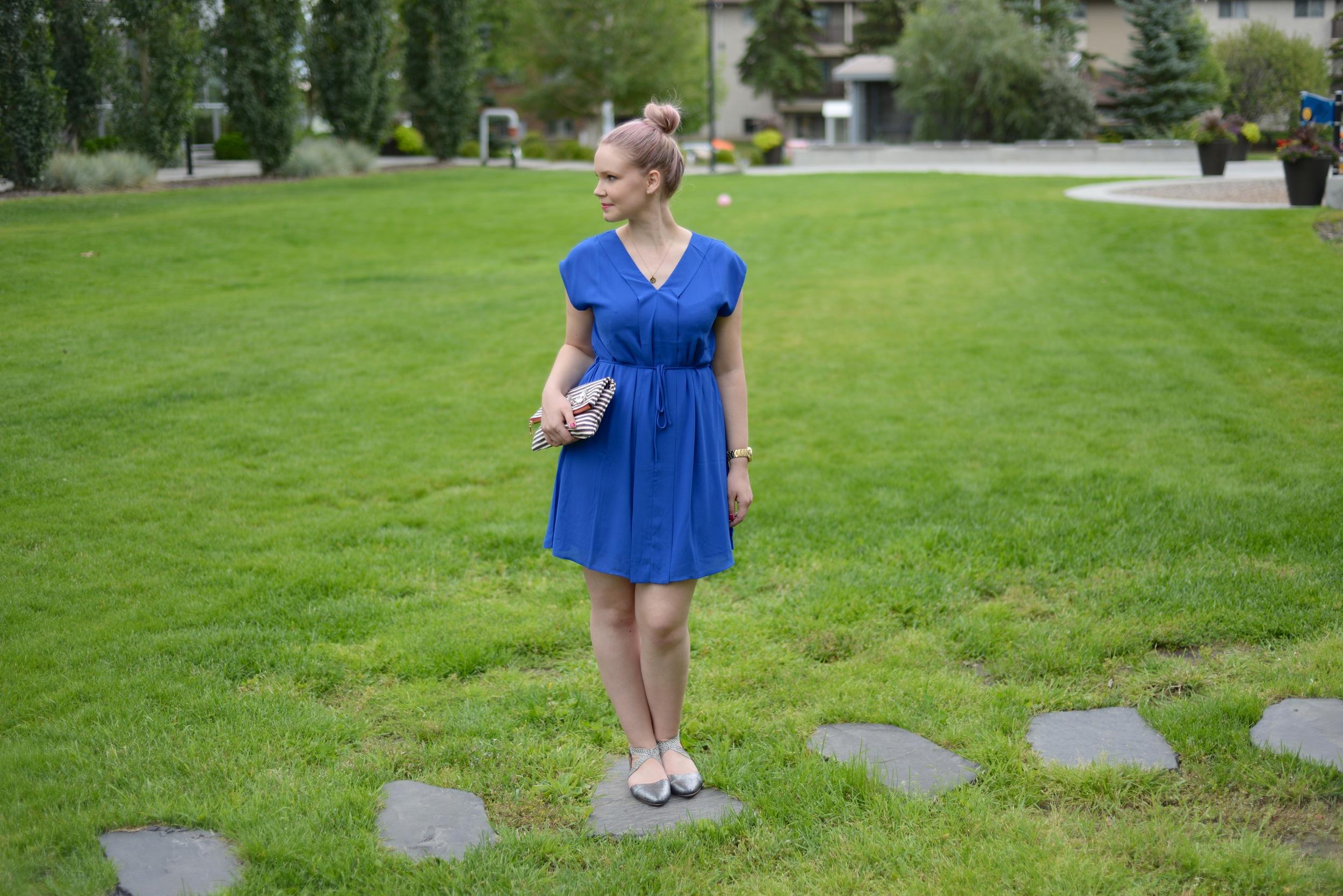 violet and flora blue dress