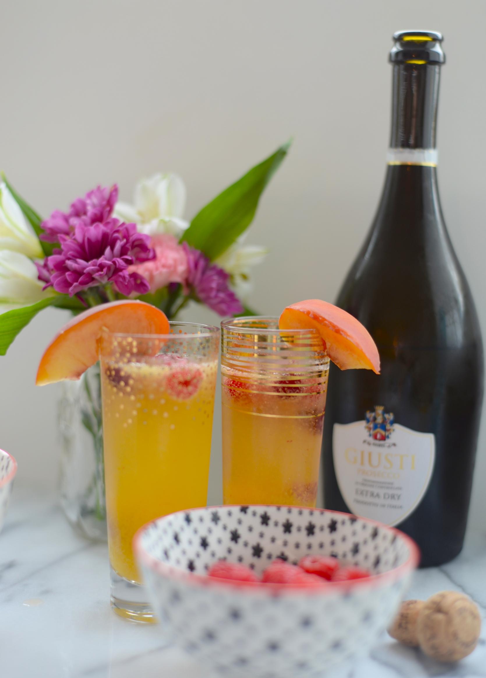 raspberry peach prosecco cocktail
