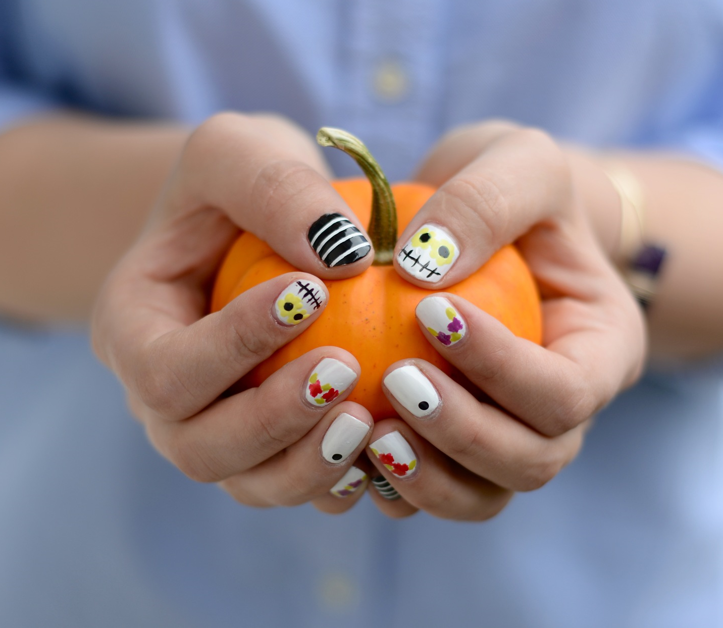 day of the dead halloween nails