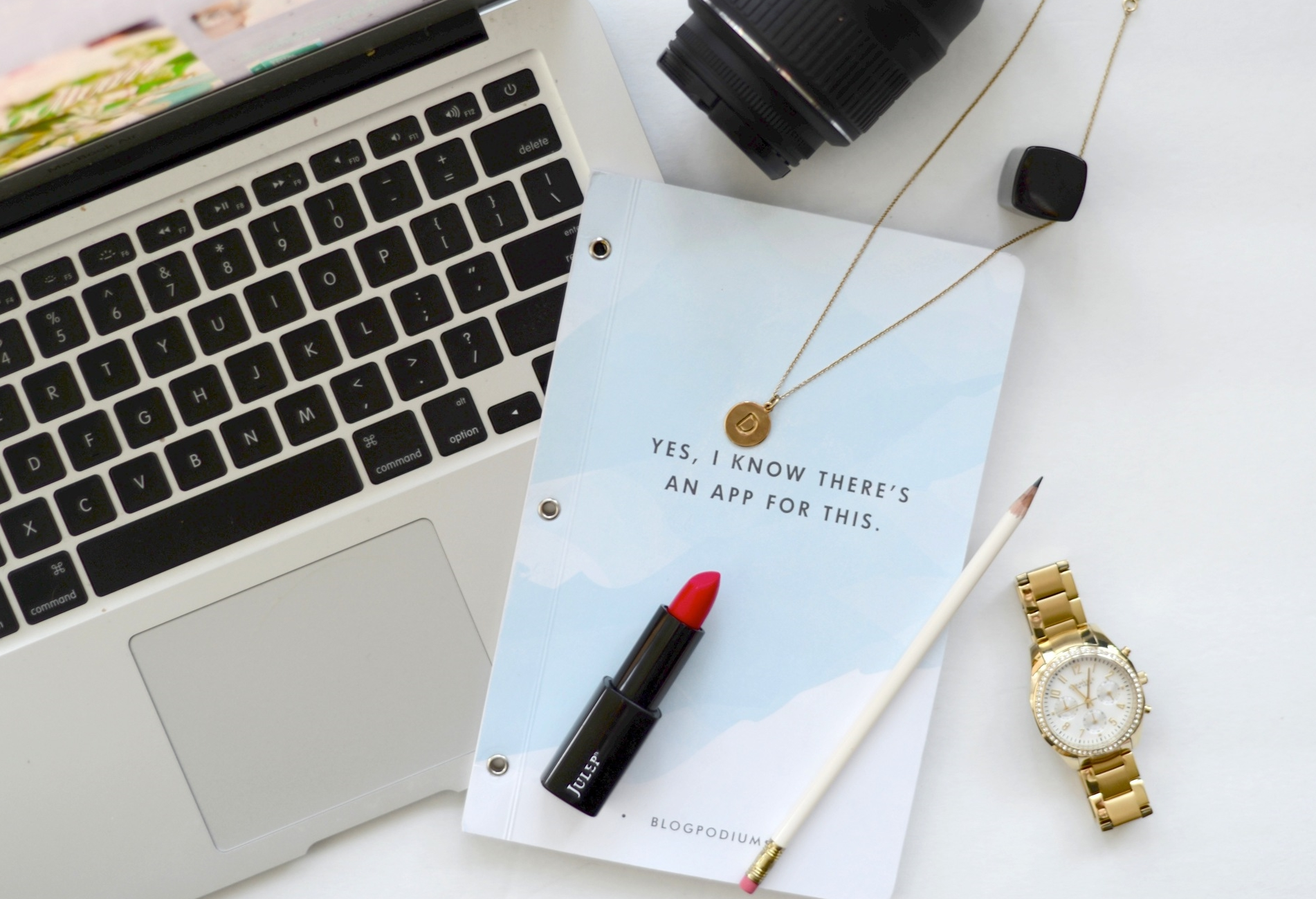 Lipstick  //  Necklace  //  Watch  // Notebook from  Minted  - Blogpodium