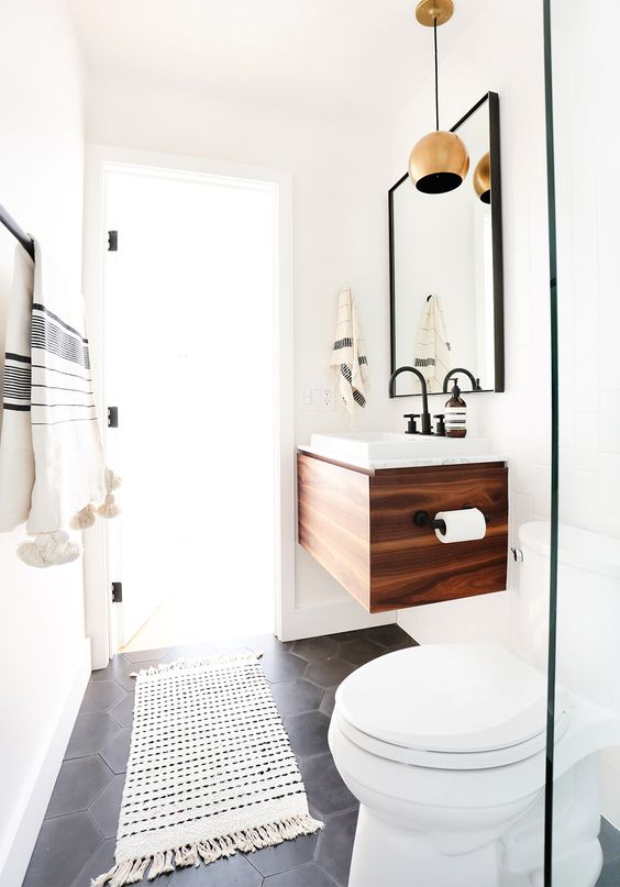 black, white and walnut washroom
