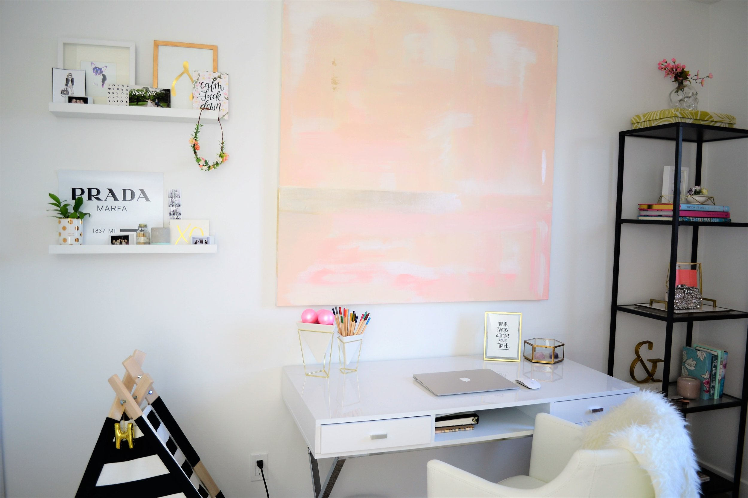 pink and white office