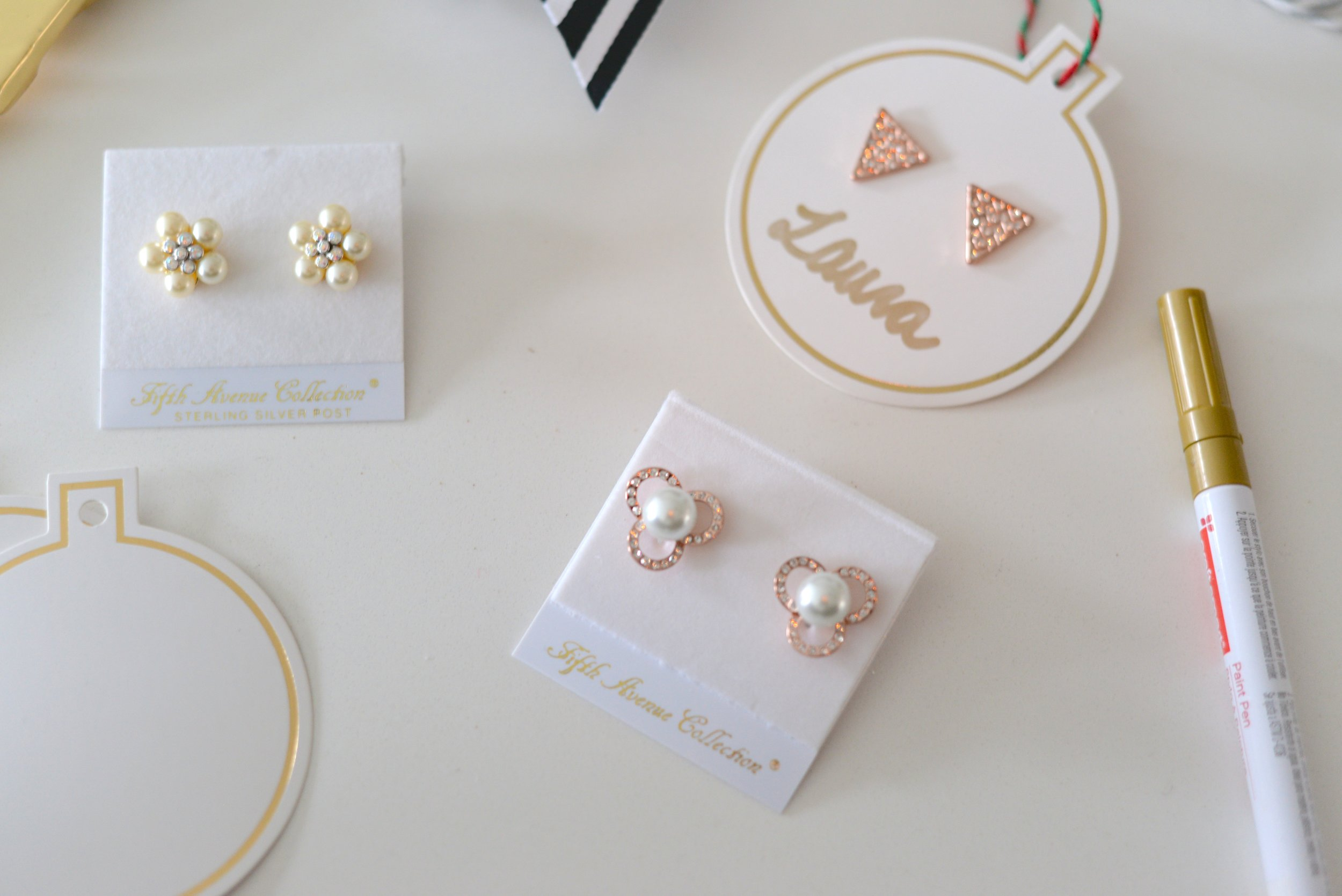 pearl and sparkly earrings