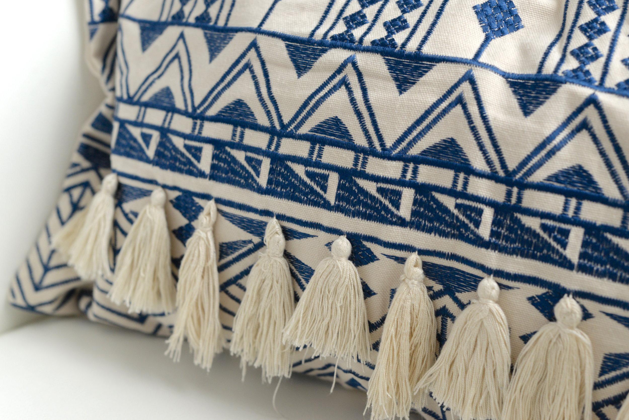 blue tassel cushion