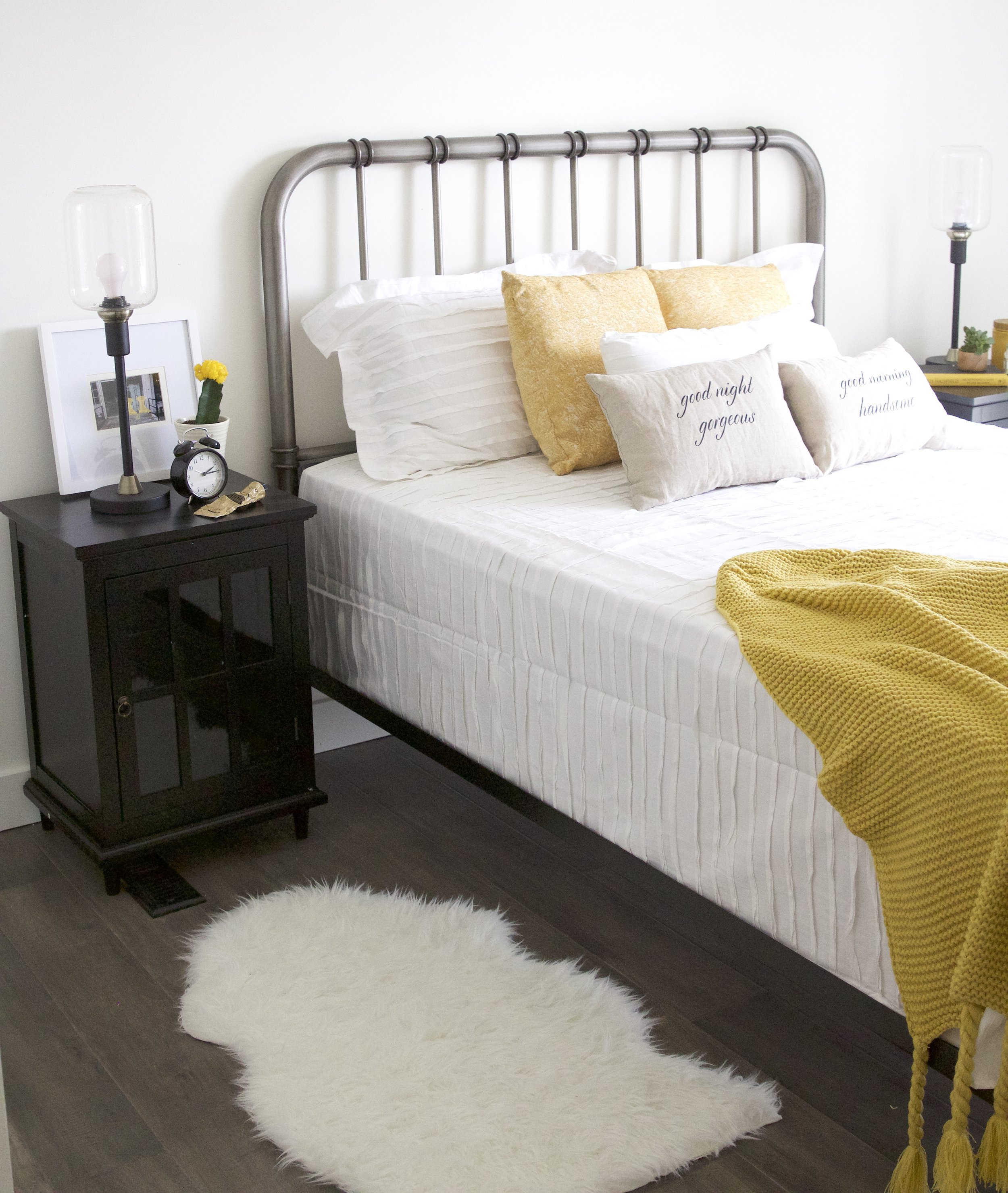 bedroom with pops of yellow