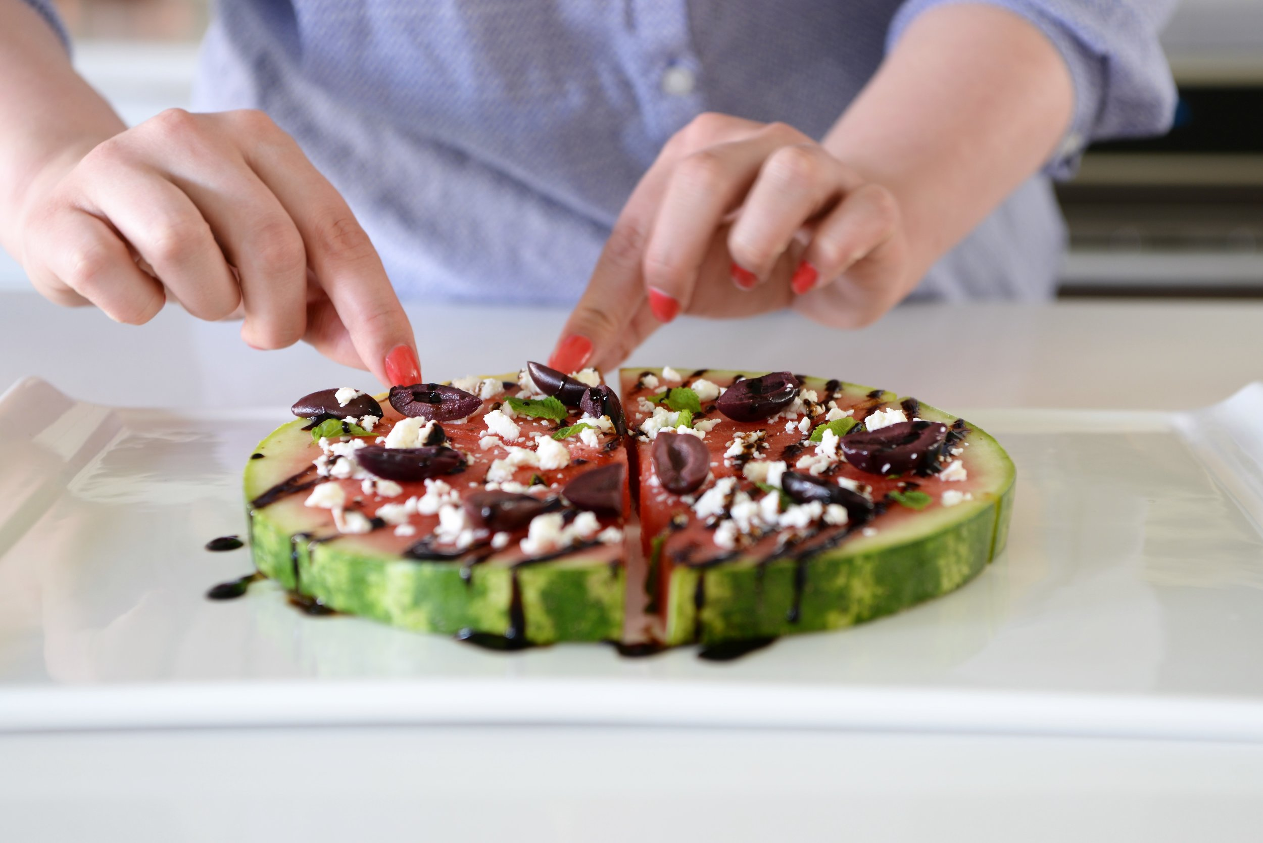 watermelon with feta, mint, olives and balsamic