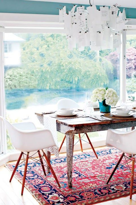 red white and blue eclectic dining room