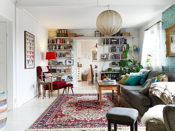 eclectic living room red and white