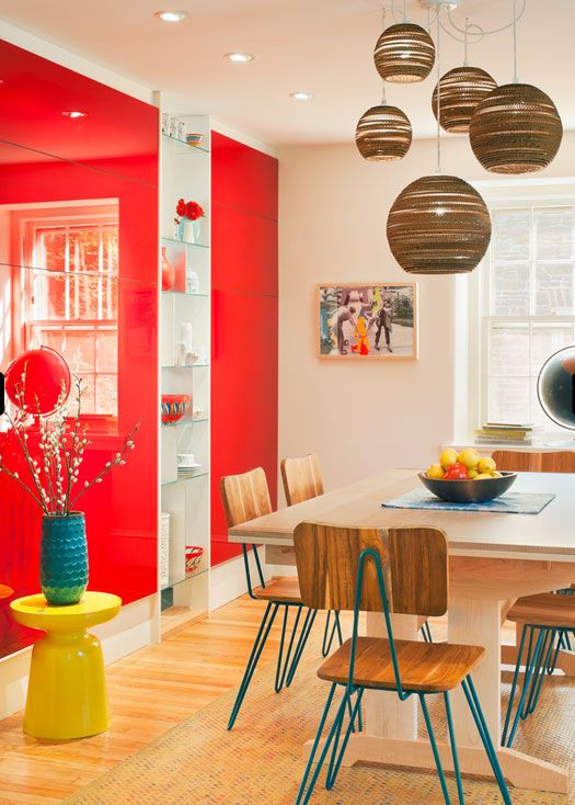 eclectic dining room red wall