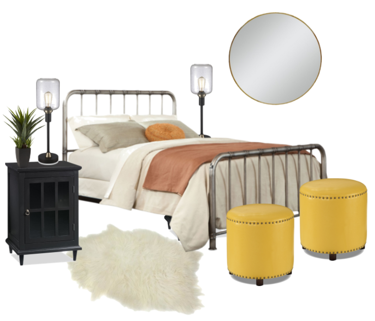 bedroom with yellow accent