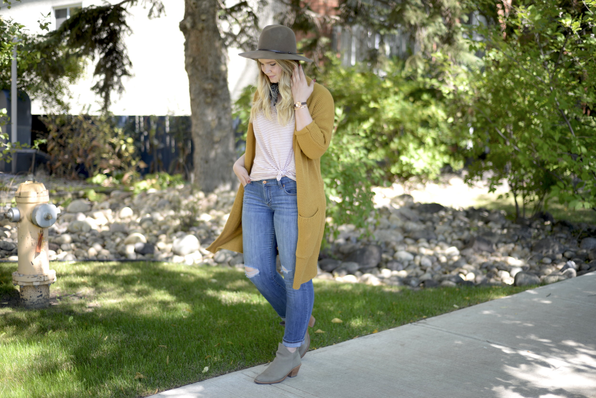 mustard color cardigan