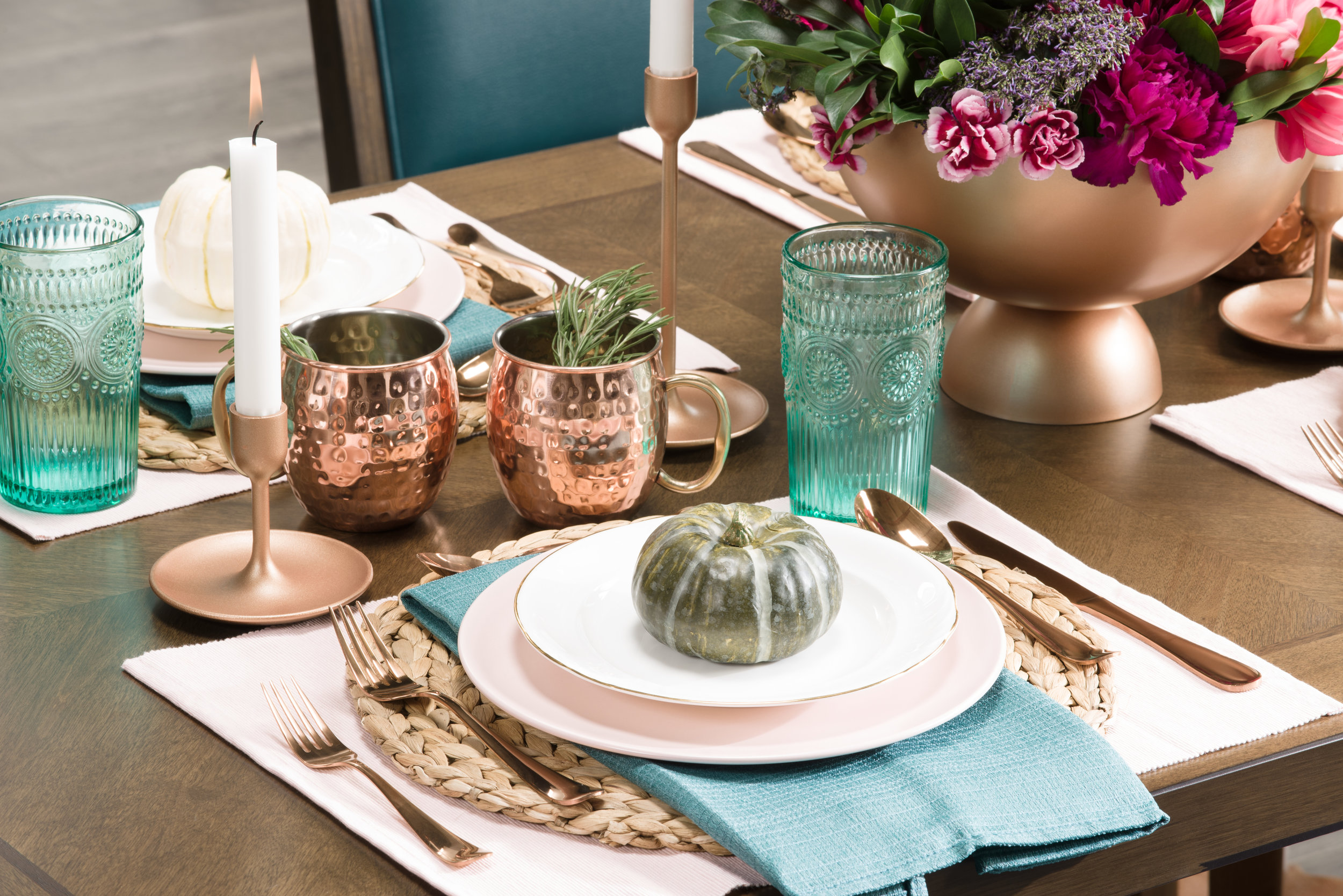 pink, copper and turquoise table setting