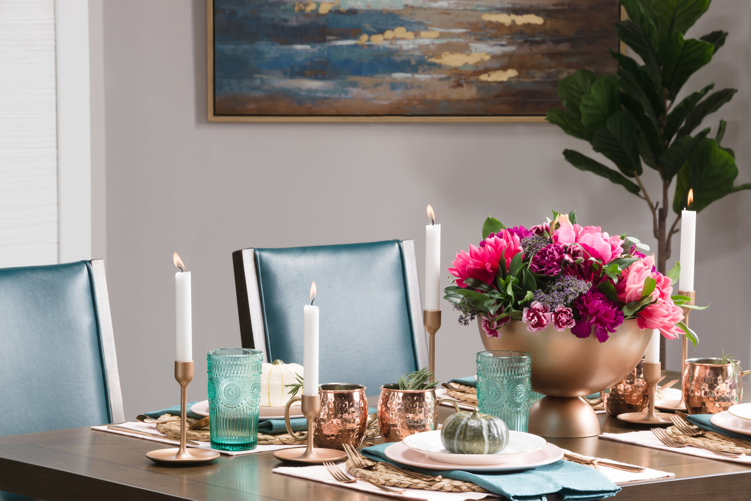 copper, pink and turquoise table setting