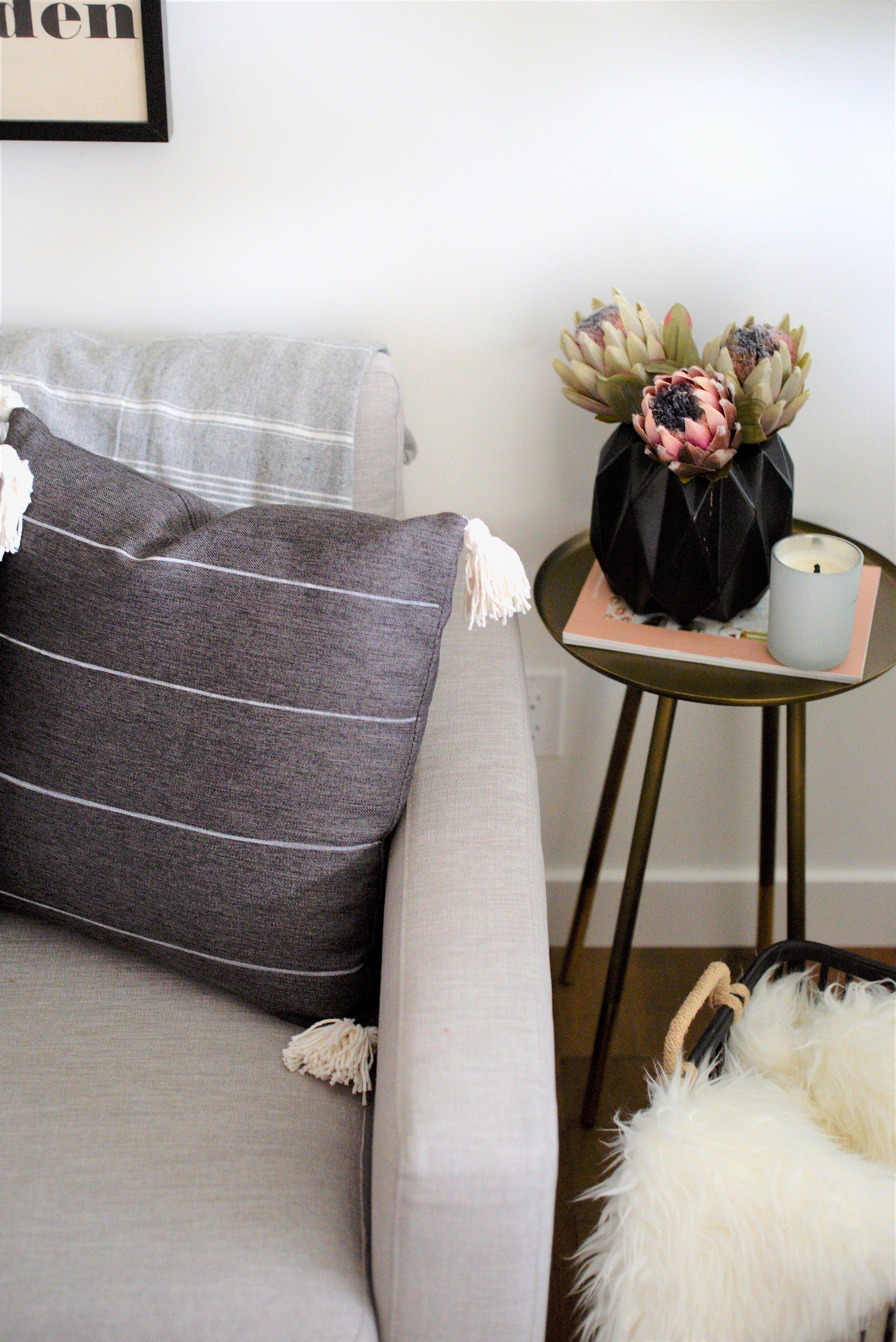 grey tassel cushion DIY
