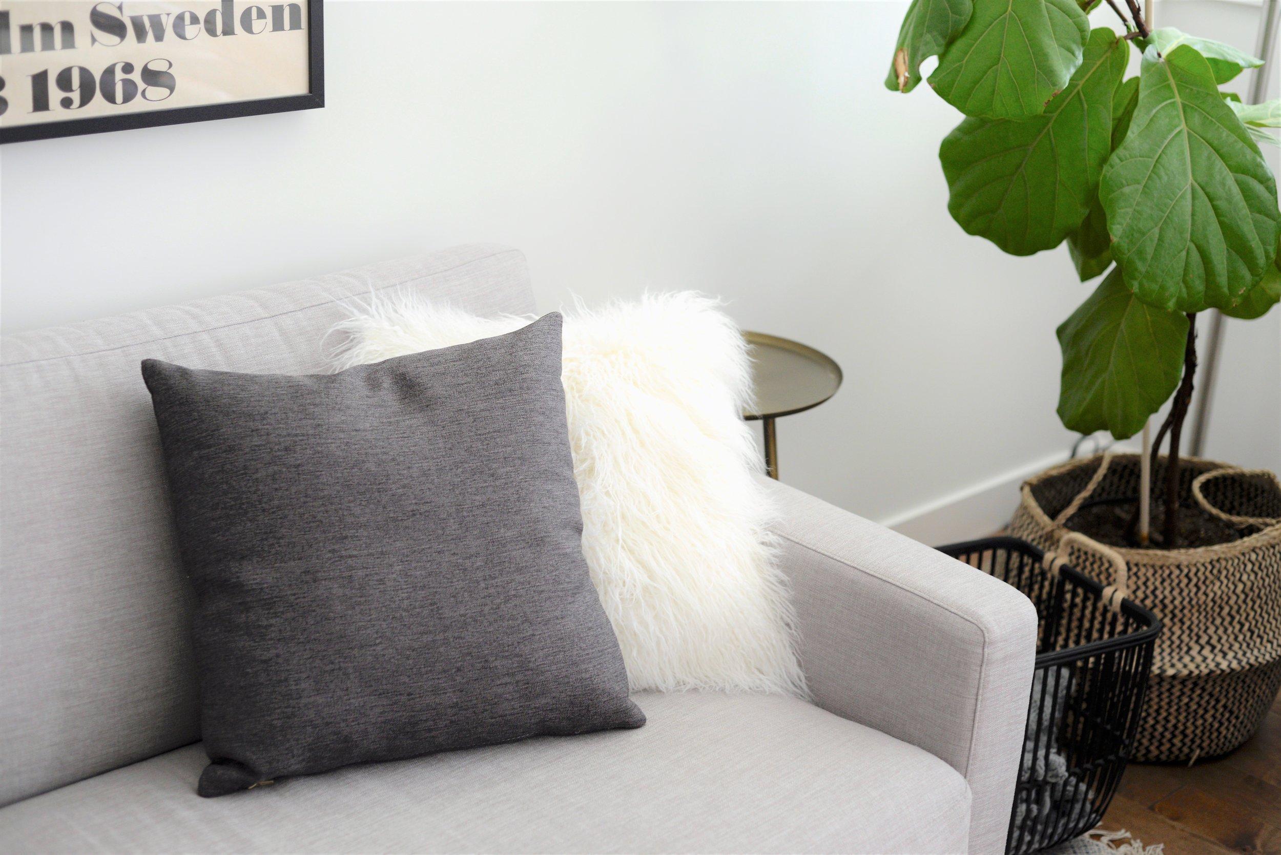 grey striped cushion DIY - BEFORE