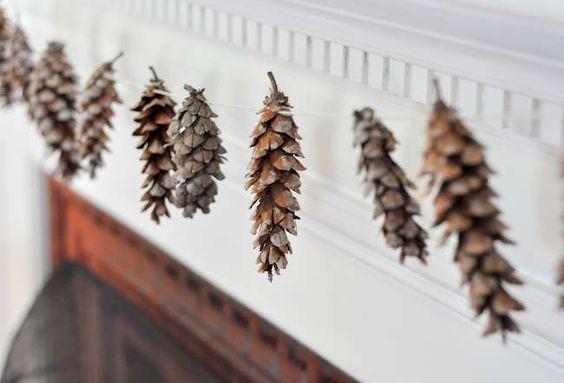 pinecone garland, minimalist