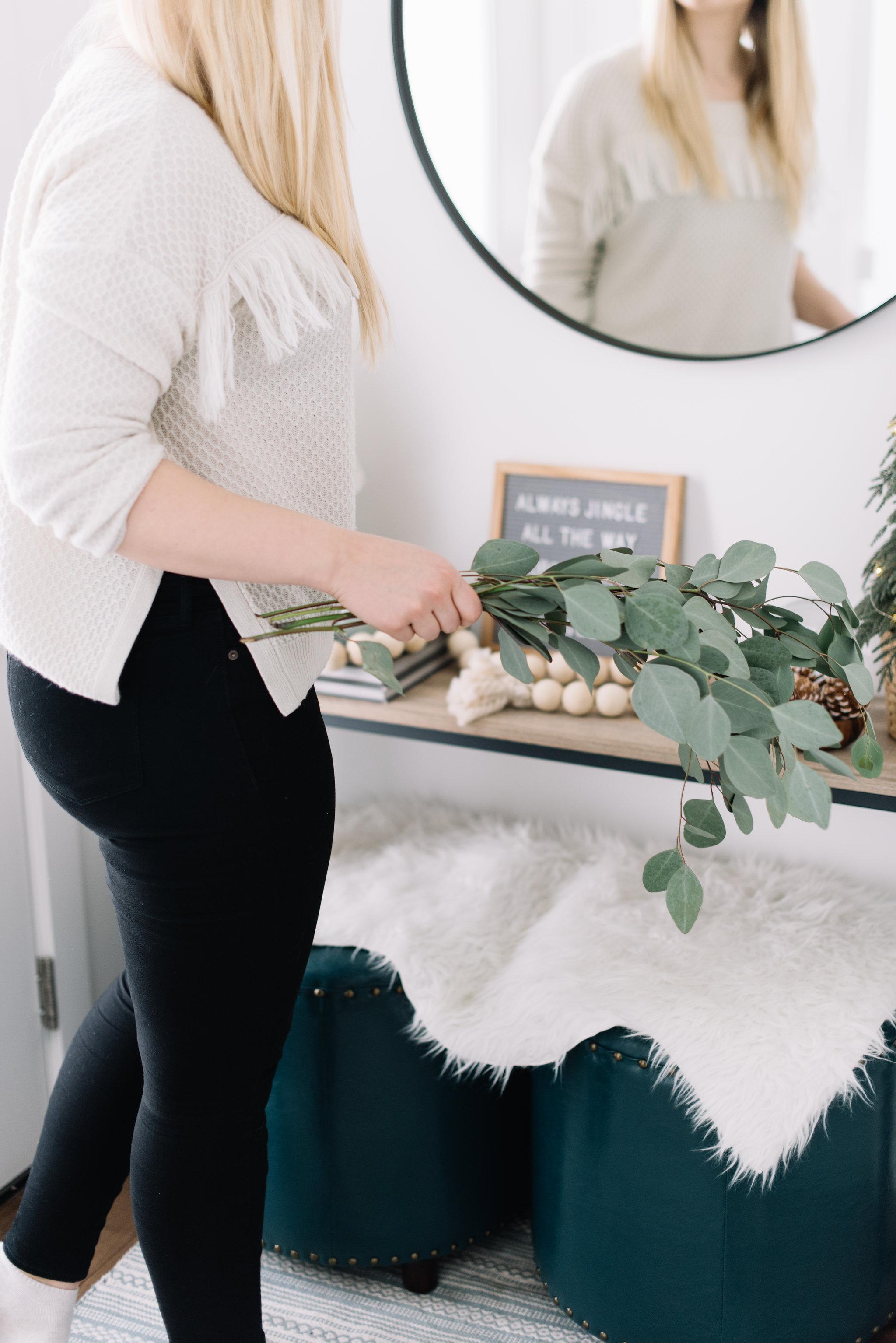 eucalyptus around wreath, DIY