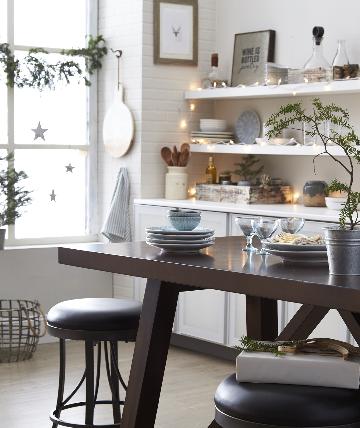 rustic kitchen with counter height table