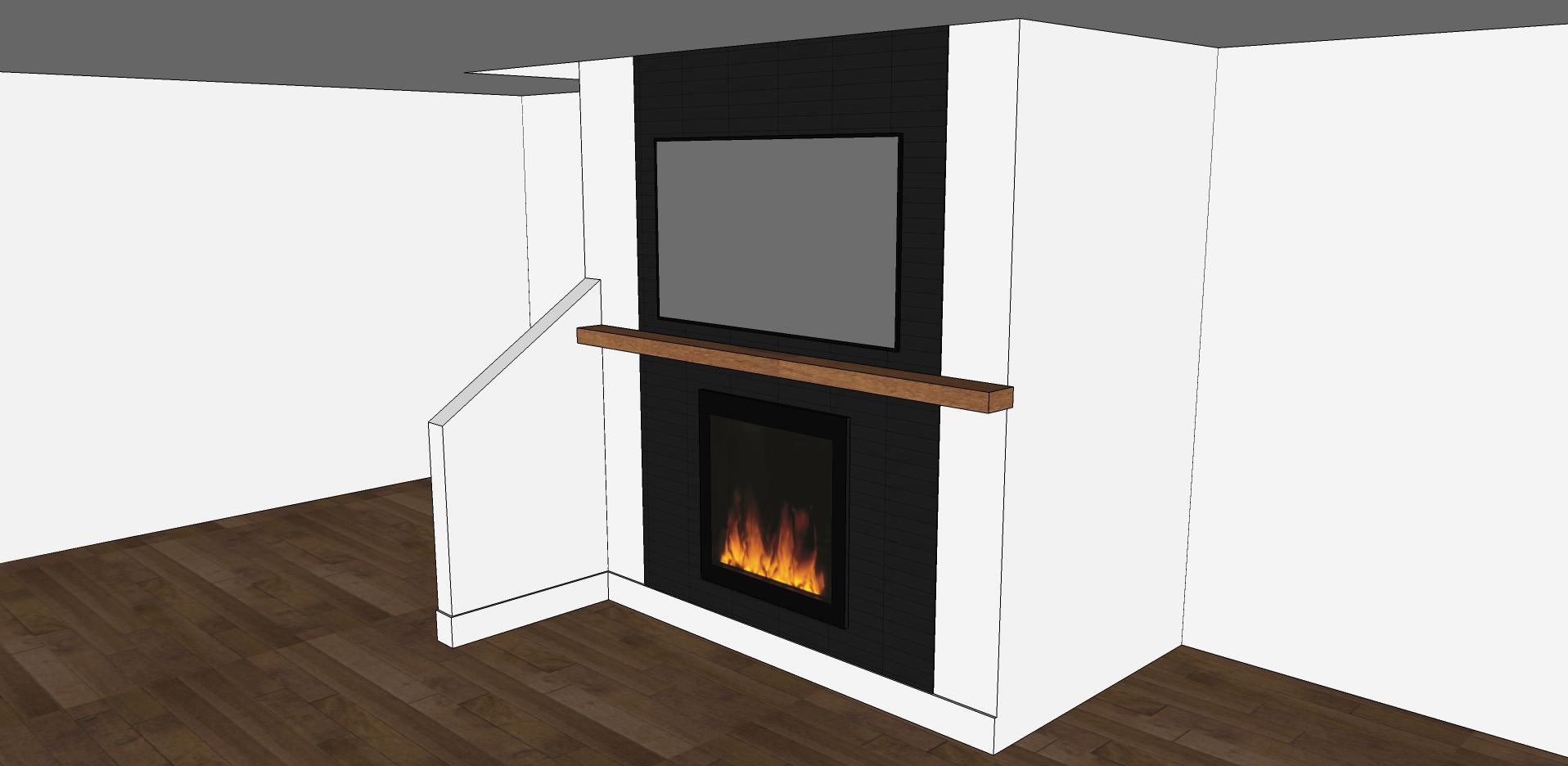 modern fireplace black matte subway tile