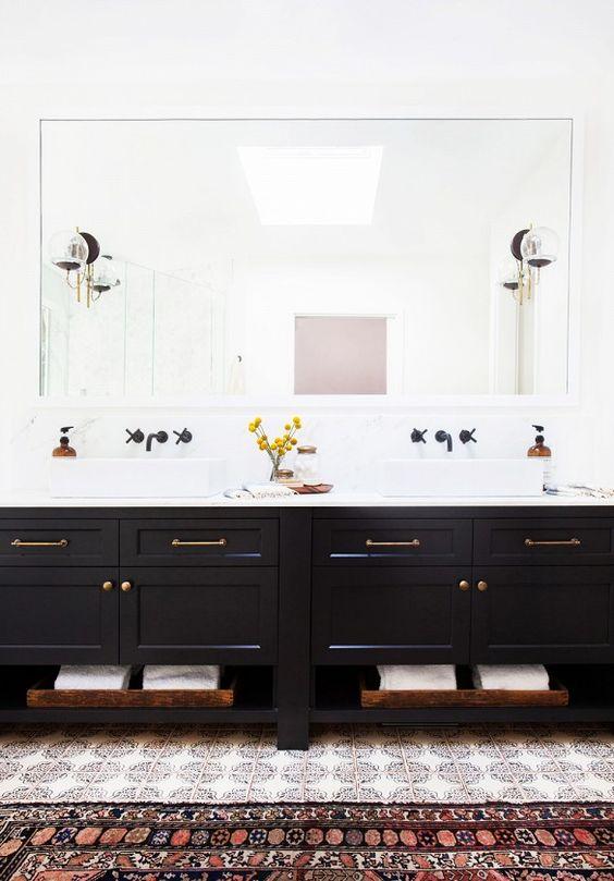 matte black bathroom, matte black hardware