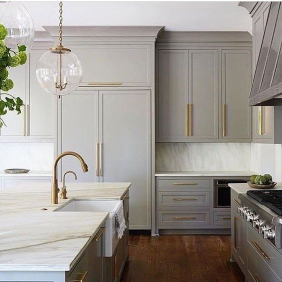 grey and brass kitchen