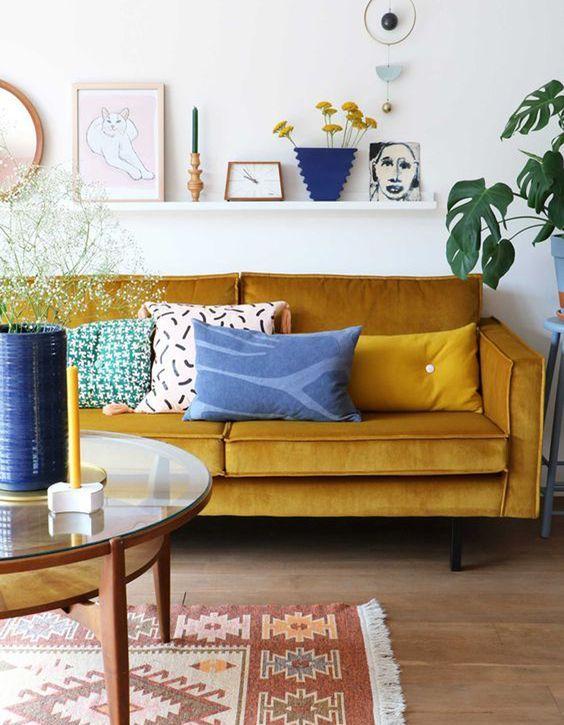 mustard colored sofa