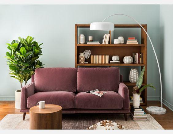 purple velvet sofa, plum sofa