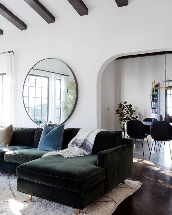 green sectional, green velvet sofa