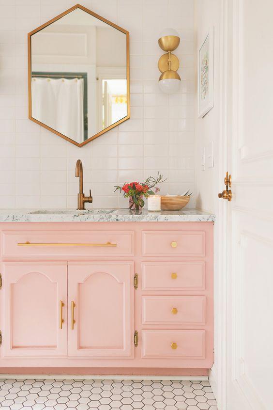 bathroom with blush pink