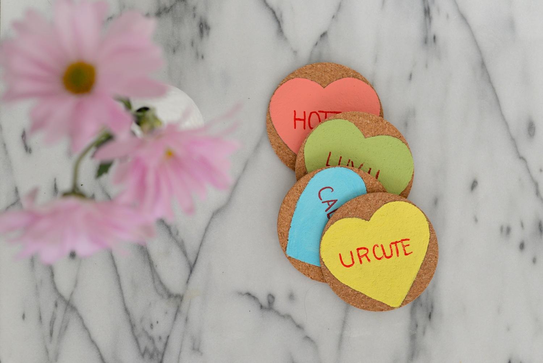 conversation hearts coasters DIY
