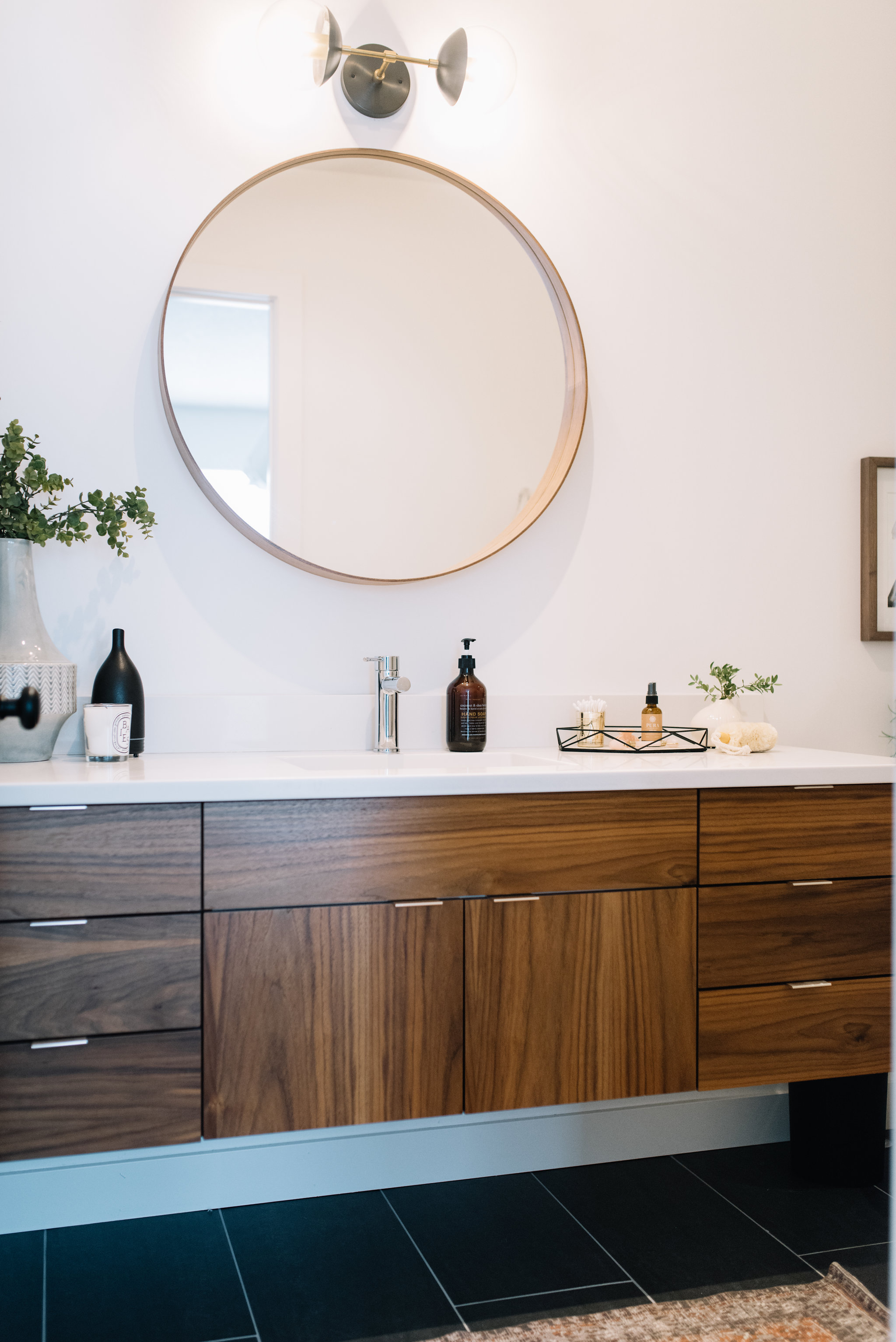 floating walnut vanity