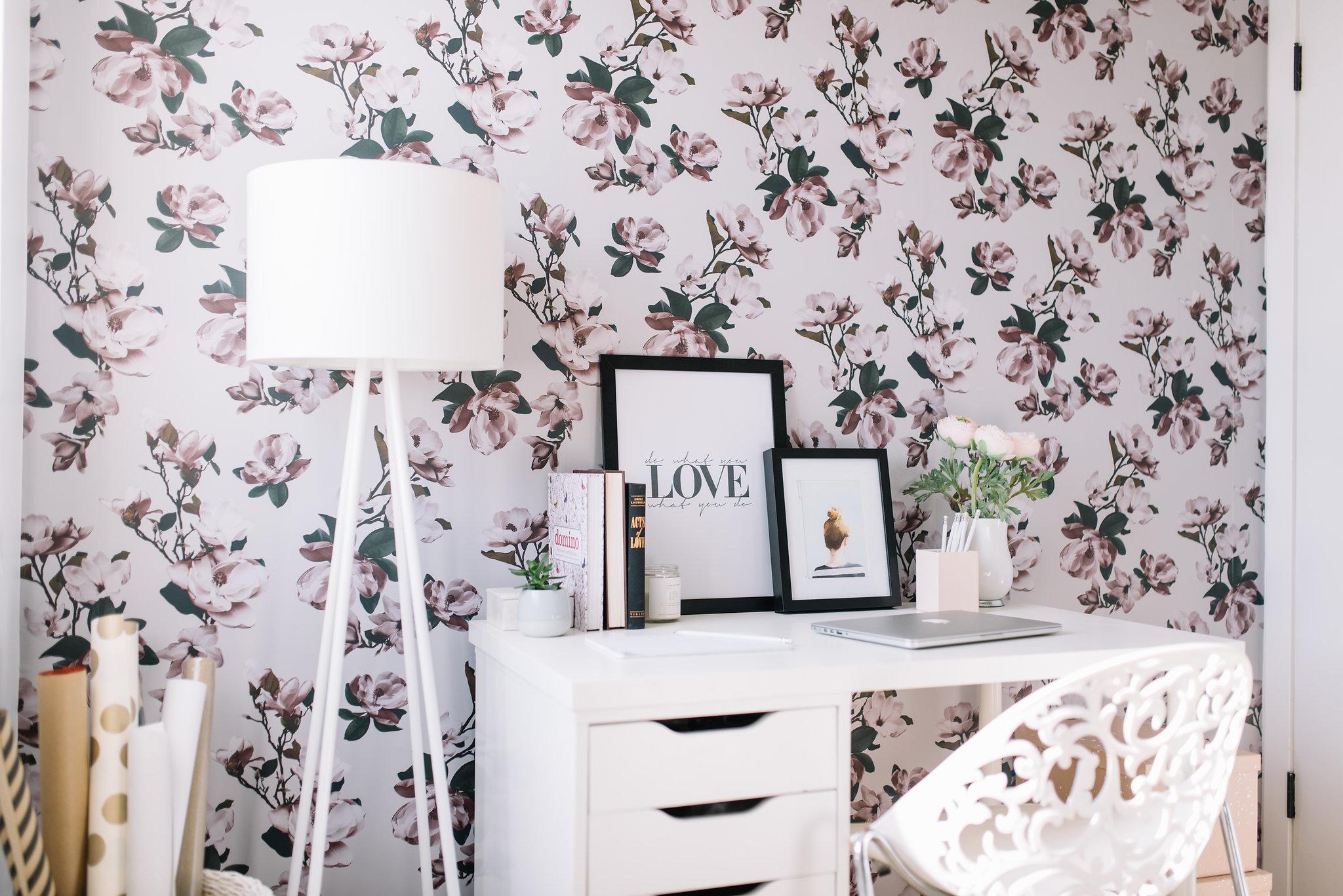 floral wallpaper, feminine office