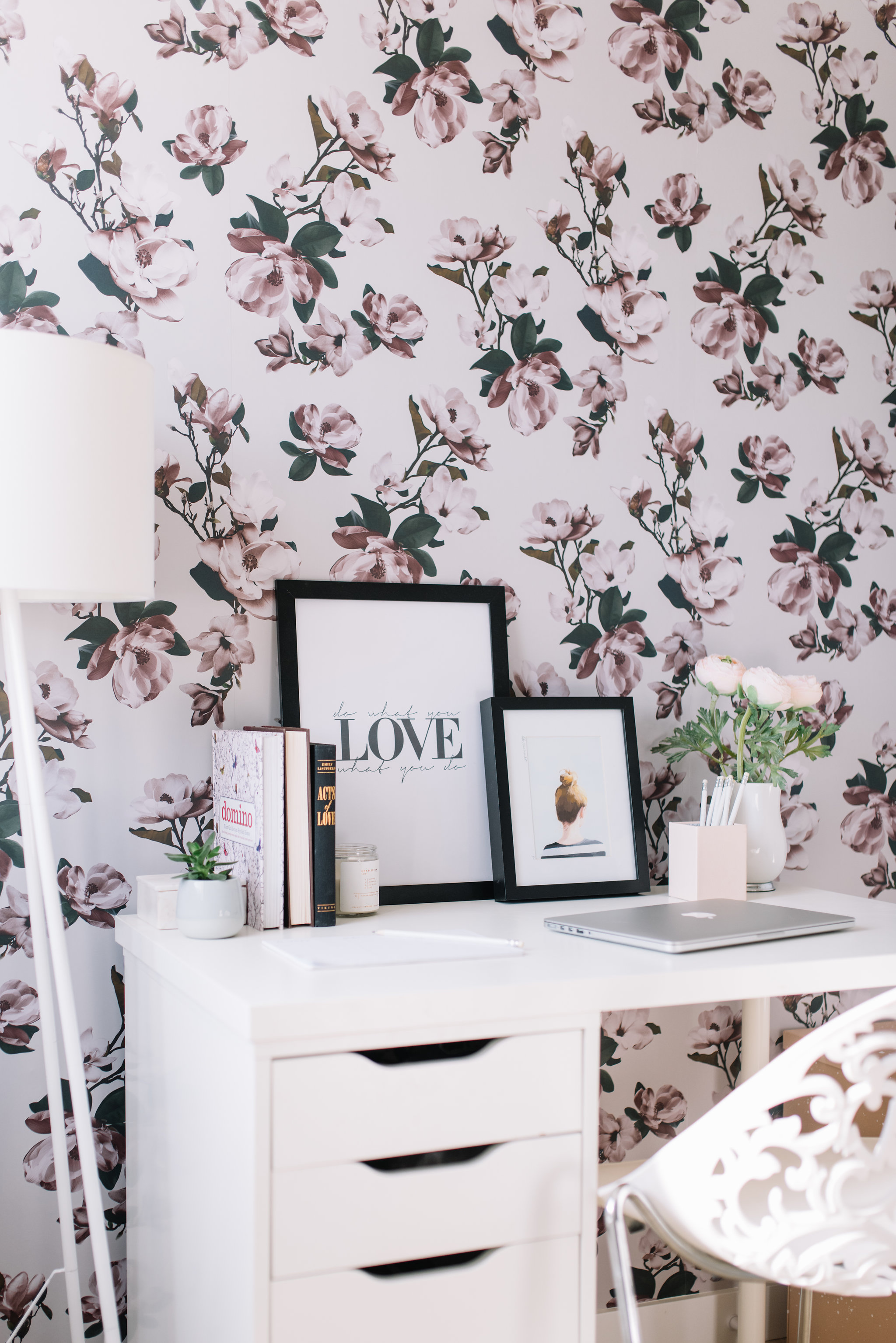 floral wallpaper, pink office