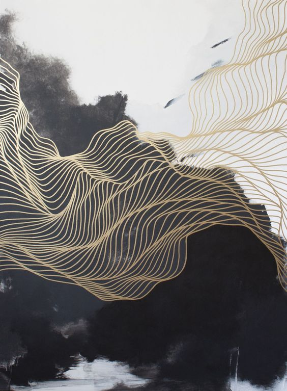 black, white and gold abstract art