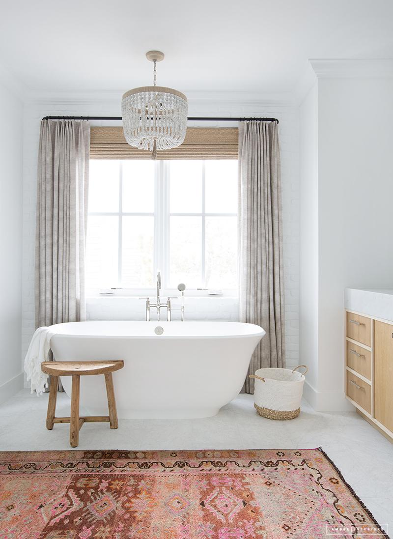 standalone tub, feminine bathroom