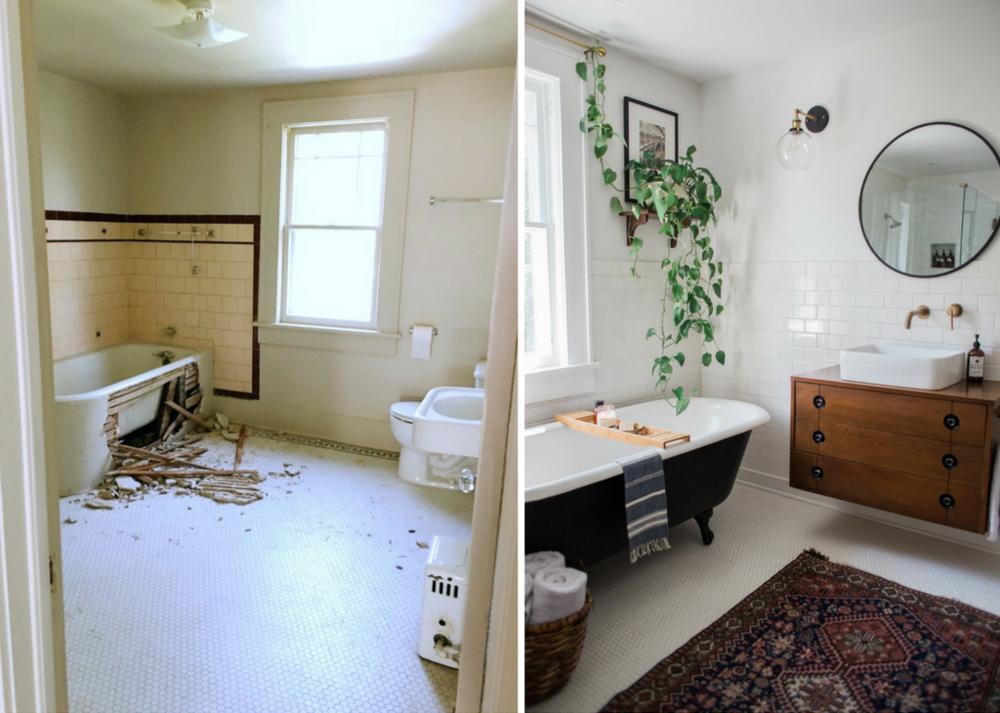 bathroom renovation black tub