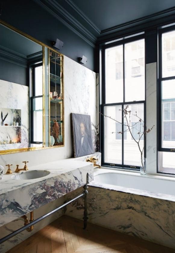 dramatic marble bathroom