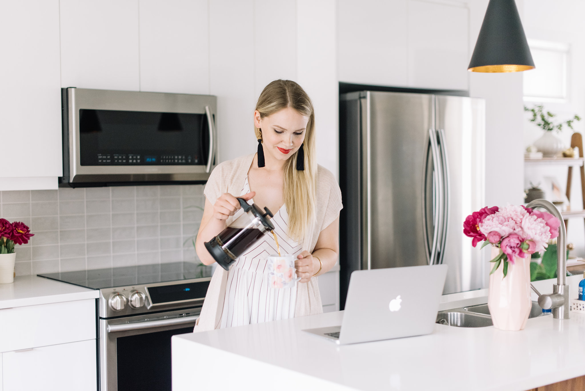 kitchen lifestyle photoshoot, pink peonies