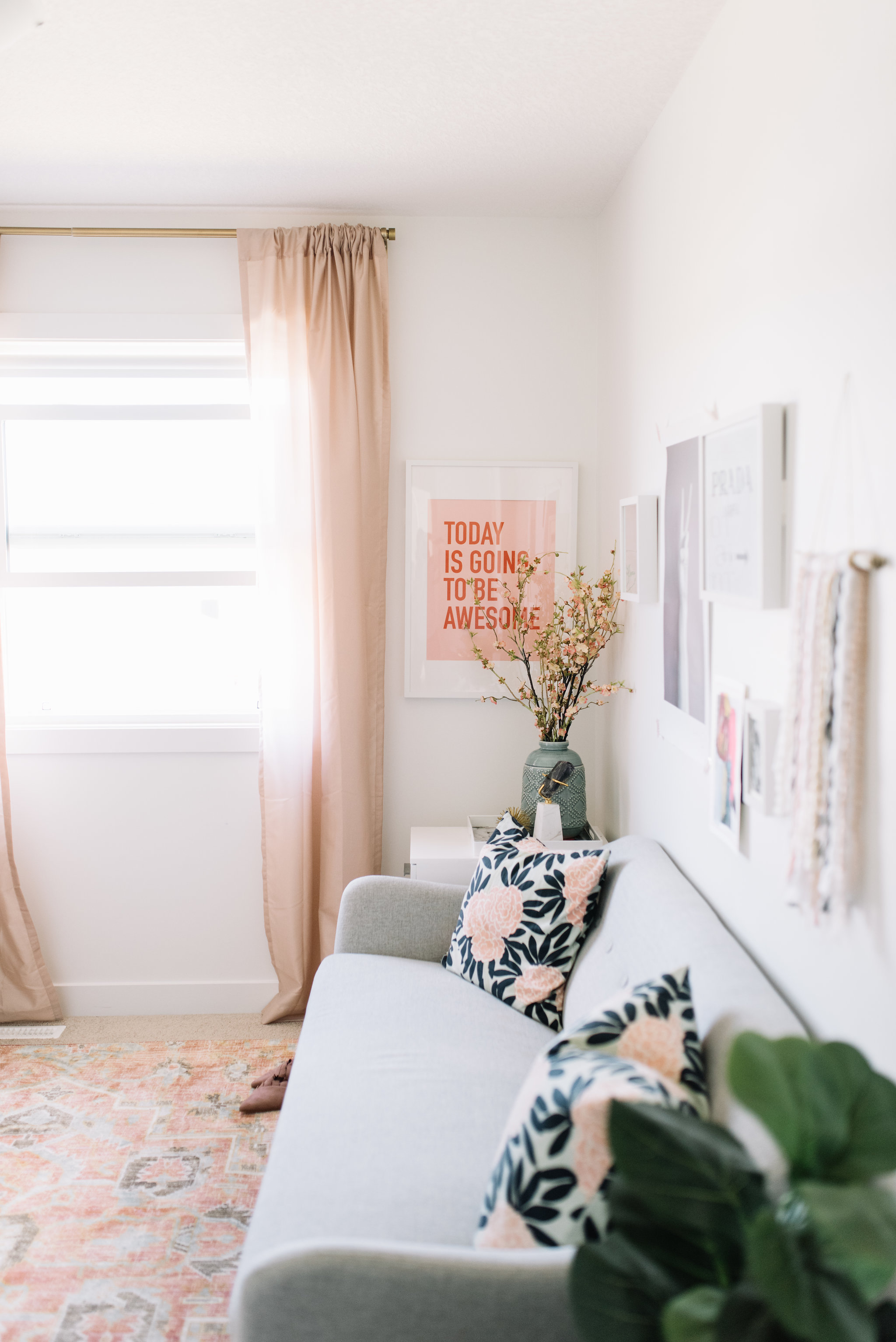 blush and white office