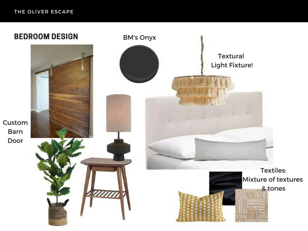 eclectic bedroom design with tassel chandelier