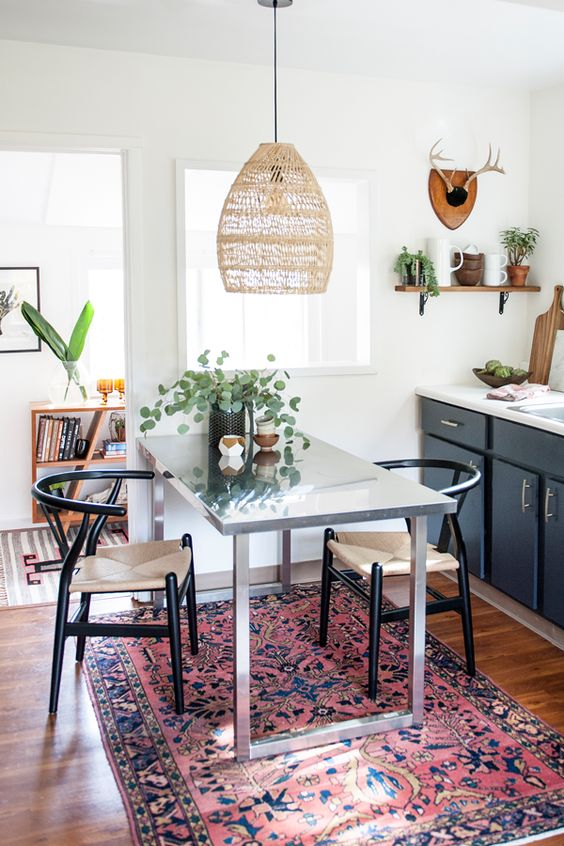 dining room with boho pendant