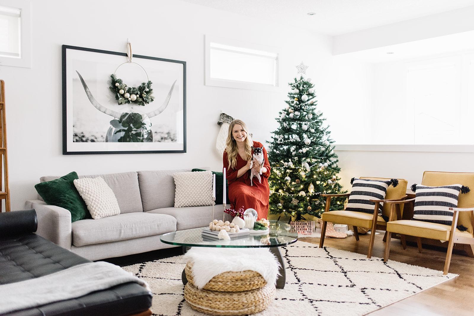 holiday home tour, modern christmas decor