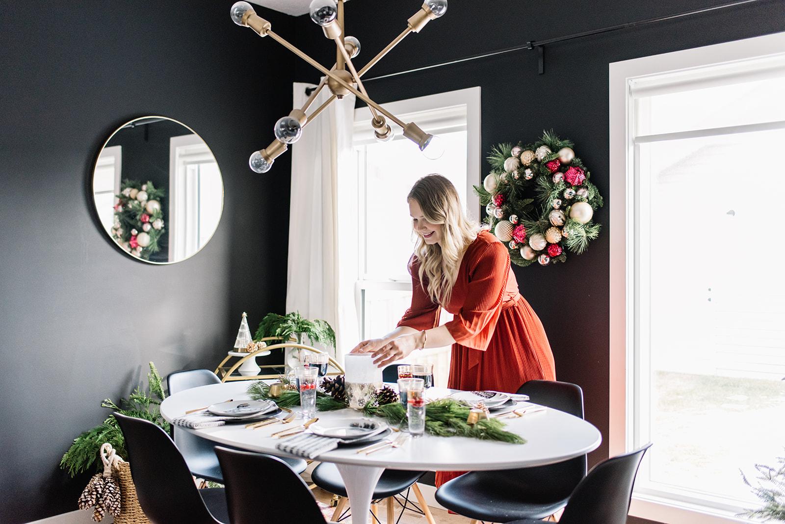 modern holiday table setting